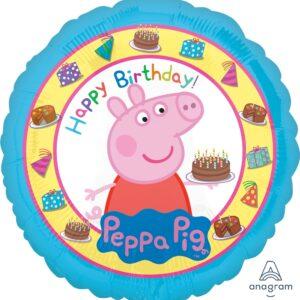 L0076. Balon foliowy z helem na urodziny 18″ cali (43 cm) – bajka Peppa i tort