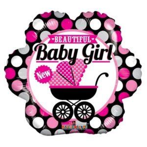 Ma17. Balon 18 cali (43 cm) na narodziny dziewczynki – dziecięcy wózek
