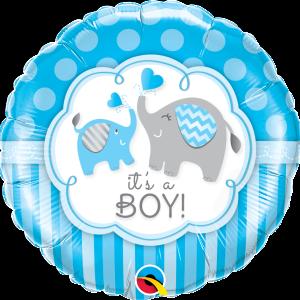 Ma40. Balon 18 cali (43 cm) na narodziny chłopca – wesołe słoniki