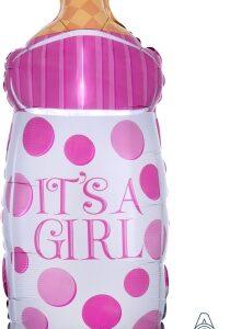 Ma25. Duży balon w kształcie różowej butelki dla dziecka 44 cm