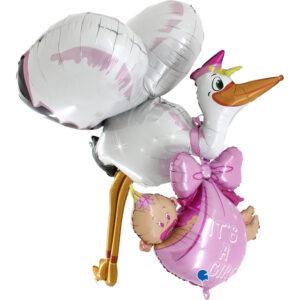 Ma18. Duży balon w kształcie bociana z dzieckiem 157 cm