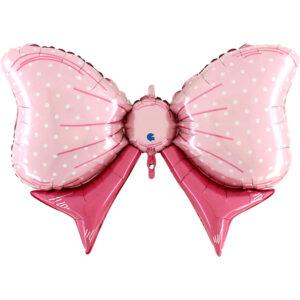Ma24. Duży balon w kształcie różowej kokardy 109 cm