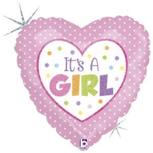 Ma11. Balon 18 cali (43 cm) na narodziny dziewczynki – I'ts a girl serce
