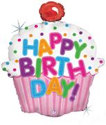 La09. Duży balon foliowy na urodziny w kształcie babki z napisem Happy BirthDay 78 cm