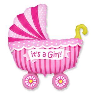 Ma23. Duży balon w kształcie różowego wózka dziecięcego 89/74 cm