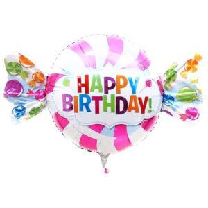 La07. Duży balon foliowy na urodziny w kształcie cukierka z napisem Happy BirthDay 60/104 cm