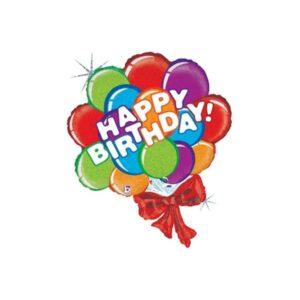 La12. Duży balon foliowy na urodziny w kształcie bukietu balonów z napisem Happy BirthDay 94 cm