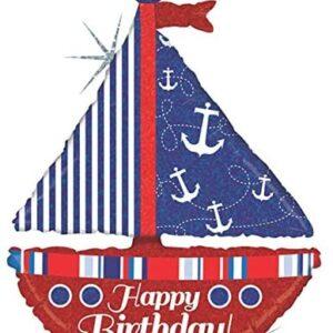 La21. Balon foliowy na urodziny w kształcie żaglówki z napisem Happy BirthDay 102 cm