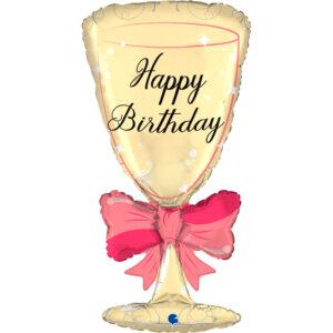 La23. Balon foliowy na urodziny w kształcie kieliszka z napisem Happy BirthDay 91 cm