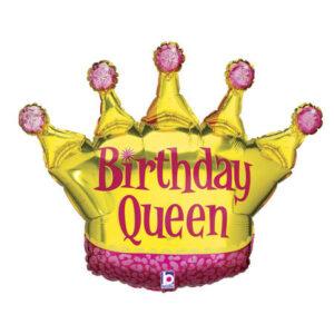La14. Balon foliowy na urodziny w kształcie złotej korony z napisem Birthday Queen 91 cm