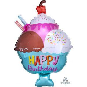 La24. Balon foliowy na urodziny w kształcie pucharu z lodami z napisem Happy BirthDay