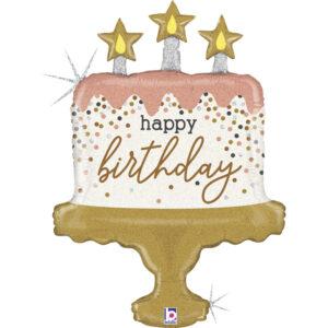 La22. Balon foliowy na urodziny w kształcie tortu ze świeczkami z napisem Happy BirthDay 102 cm