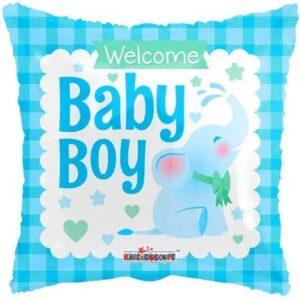 Ma45. Balon 18 cali (43 cm) na narodziny chłopca – wesoły słonik