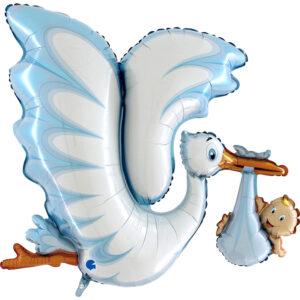 Ma52. Balon 53 cale  (około 135 cm) na narodziny chłopca – Niebieski bocian z dzieckiem