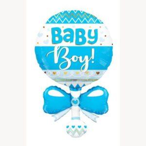Ma59. Balon 91 cm na narodziny chłopca – niebieska grzechotka