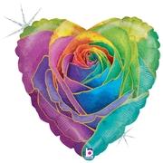 N019. Balon z helem w kształcie serca 43 cm kolorowy kwiat