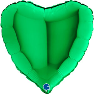 N010. Balon z helem w kształcie serca 43 cm zielone