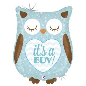 Ma54. Balon 26 cale  (około 66 cm) na narodziny chłopca – Niebieska sowa