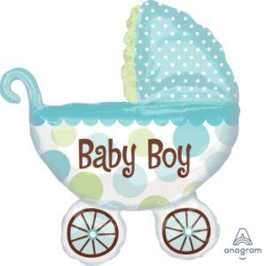 Ma57. Balon 71/79 cm na narodziny chłopca – Niebieski wózek retro