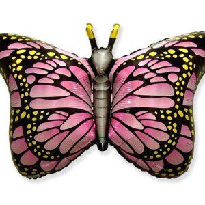 L10. Balon z helem w kształcie motyla monarchy różowy około 56/97 cm