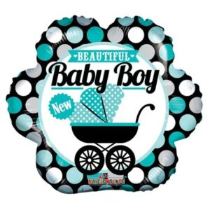 Ma49. Balon 18 cali (43 cm) na narodziny chłopca – dziecięcy wózek