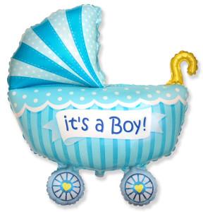 Ma56. Balon 89/74 cm na narodziny chłopca – Niebieski wózek