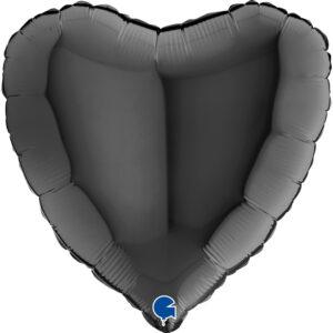 N008. Balon z helem w kształcie serca 43 cm czarny