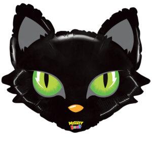 L12. Balon z helem w kształcie głowy czarnego kota około 71 cm