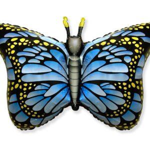 L09. Balon z helem w kształcie motyla monarchy niebieski około 56/97 cm