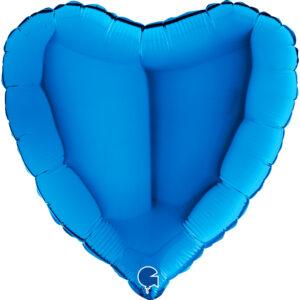 N014. Balon z helem w kształcie serca 43 cm niebieskie