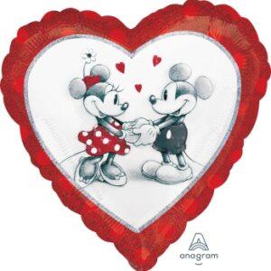 N020. Balon z helem w kształcie serca 43 cm Myszka Miki i Minnie zakochani
