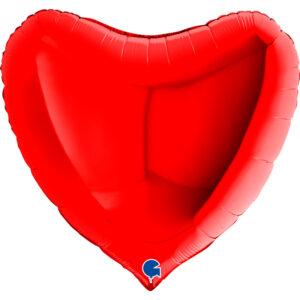 N009. Balon z helem w kształcie serca 43 cm czerwone