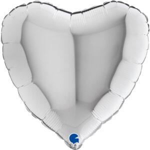 N006. Balon z helem w kształcie serca 43 cm srebrny