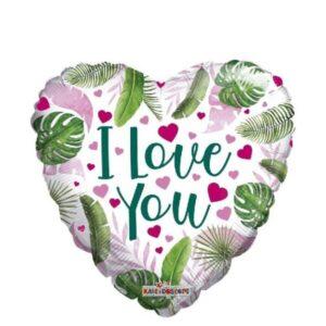 N004. Balon z helem w kształcie serca 43 cm Eko I Love You