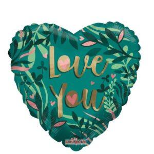 N001. Balon z helem w kształcie serca 43 cm Eko LOVE YOU