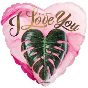 N002. Balon z helem w kształcie serca 43 cm Eko I LOVE YOU