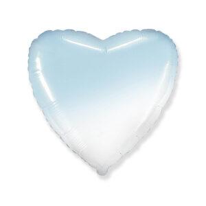 N017. Balon z helem w kształcie serca 43 cm ombre – cieniowany niebiesko biały