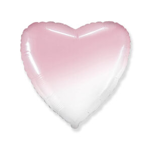 N016. Balon z helem w kształcie serca 43 cm ombre – cieniowany różowo biały