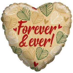 N003. Balon z helem w kształcie serca 43 cm Eko Forever & Ever!