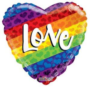 N018. Balon z helem w kształcie serca 43 cm tęczowe LOVE